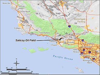 Saticoy Oil Field - The Saticoy Oil Field in Ventura County, California.  Other oil fields are shown in dark gray.