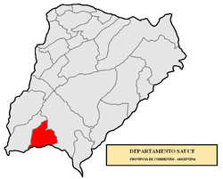 location of Sauce Department in Corrientes Province