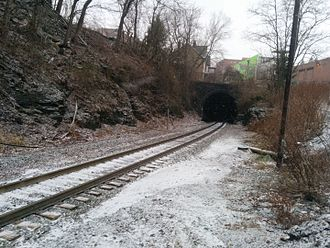 Schenley Tunnel - The south portal in 2016.