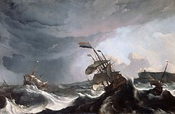 Schepen aan lager wal - Ships running aground - The 'Ridderschap' and 'Hollandia' in trouble in the Street of Gibraltar 1-3 March 1694 (Ludolf Backhuysen, 1708).jpg