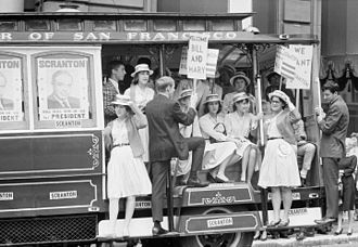William Scranton - Scranton supporters ride a San Francisco cable car during the 1964 Republican National Convention