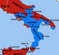 Kartaca kontrolünün maksimum kapsamını gösteren güney yarımada İtalya haritası