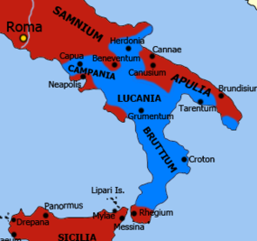 Hannibal's allies in southern Italy c. 213 BC, shown in light blue Second Punic war (cropped).png