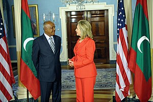 Foreign relations of the Maldives - Hillary Clinton receives foreign minister Naseem