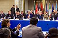 Secretary Kerry Gestures To A Group of Pro-National Unity Government Libyans During A Multinational Meeting on Libya's Future in Rome, Italy (23695890336).jpg