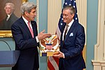 Secretary Kerry Presents Ambassador Olson With the Distinguished Service Award (31203269191).jpg