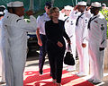Secretary of State Hillary Rodham Clinton arrives at the U.S. Pacific Fleet boathouse at Naval Station Pearl Harbor 100112-N-VM928-003.jpg