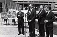 Senate President William M. Bulger, Representative Salvatore F. DiMasi, Mayor Raymond L. Flynn and Governor Michael Dukakis at affordable housing press conference (9501946909).jpg