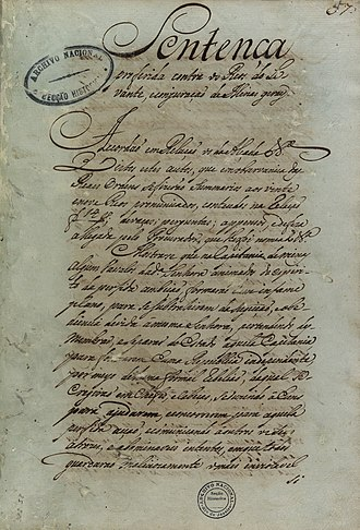Tiradentes - Sentence pronounced against Tiradentes, 1792.