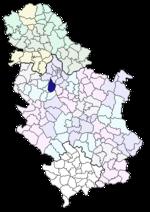 karta srbije lazarevac Opština Lazarevac   Wikipedia karta srbije lazarevac