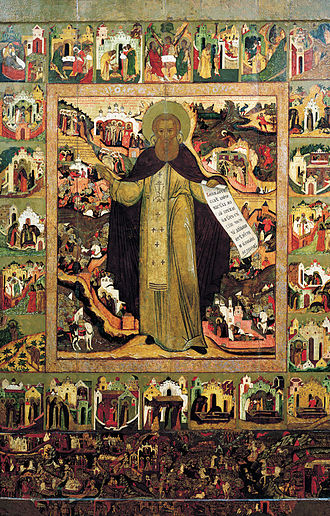 Mantle (monastic vesture) - Icon of Saint Sergius of Radonezh wearing the black monastic mantle.