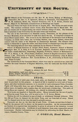 Sewanee: The University of the South - 1871 Poster for Sewanee