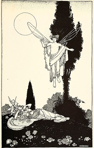 Oberon - Illustration of Oberon enchanting Titania by W. Heath Robinson, 1914