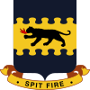 "An insignia with a dark four-legged feline breathing fire on a yellow background. There is a blue artistic border at the top and bottom. Below a banner reads ""Spit fire""."