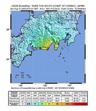 2009 Shizuoka earthquake - Image: Shizuoka Earthquake Shakemap 20090811
