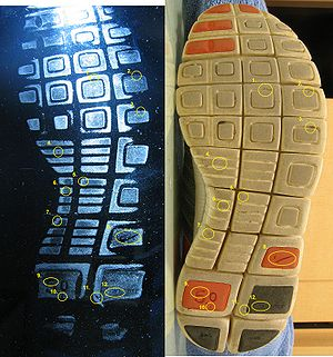 Nike Free - The above photo shows a footwear impression and the outsole from a piece of footwear.