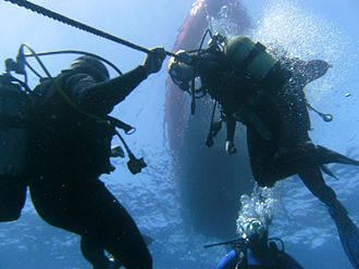 A group of divers seen from below. Two are holding onto the anchor cable as an aid to depth control during a decompression stop.