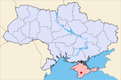 Simferopol on a map of Ukraine (blue) in Crimea (pink).