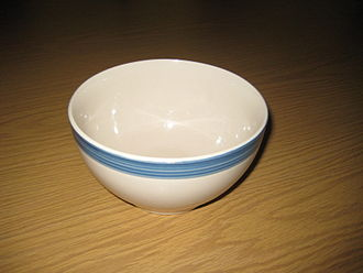 Bowl - Simple ceramic bowl with blue glazed trim