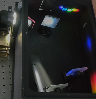 Optical spectrometer - Internal structure of a grating spectrometer: Light comes from left side and diffracts on the upper middle reflective grating. The wavelength of light is then selected by the slit on the upper right corner.