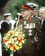 Sir Phillip Bennett preparing to lay wreath, May 7, 1992