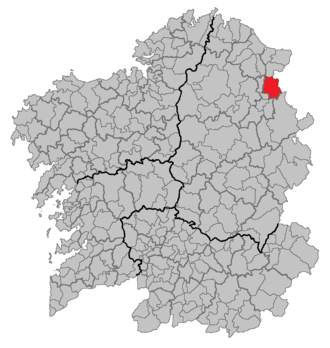 A Pontenova - Location of A Pontenova in Galicia.