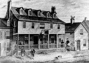 English: Sketch of Tun Tavern in the Revolutio...
