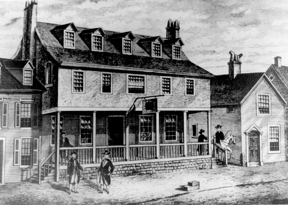 Sketch of Tun Tavern in the Revolutionary War