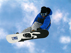 English: freestyle snowboarding