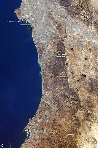 San Jacinto Fault Zone - California Coast, Los Angeles to San Diego Bay. Overlaid lines on this  NASA photo (2008) identify the San Jacinto Fault Zone (right) parallel to the Elsinore Fault (left)