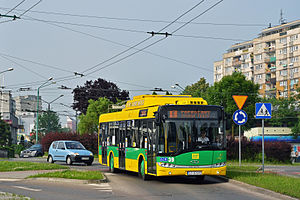 Trolleybuses in Tychy - Solaris Trollino 12 on line E on accumulator power (during diverted traffic)