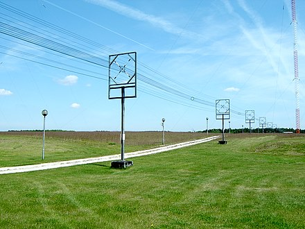 A type of transmission line called a cage line, used for high power, low frequency applications. It functions similarly to a large coaxial cable. This example is the antenna feed line for a longwave radio transmitter in Poland, which operates at a frequency of 225 kHz and a power of 1200 kW. Solec Kujawski longwave antenna feeder.jpg