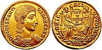 Solidus-Constantius Gallus-thessalonica RIC 149