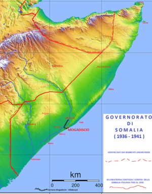 Somalia Governorate - 1936-1941 Somalia Governorate map, with the Ogaden region annexed