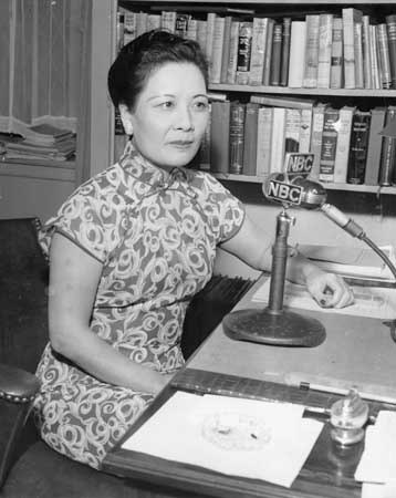 Soong May-ling giving a special radio broadcast