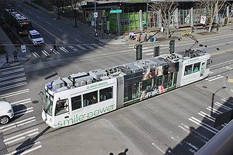 South Lake Union Streetcar - A northbound streetcar crossing Denny Way