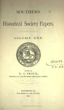 Southern Historical Society Papers volume 30.djvu
