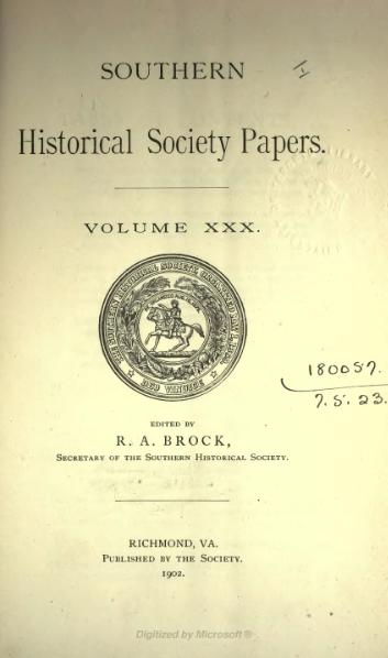 File:Southern Historical Society Papers volume 30.djvu