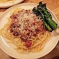 Spaghetti al ragu with pan roasted broccolini いつもの.jpg