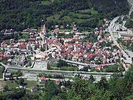 A view of the village from the hillside to the east