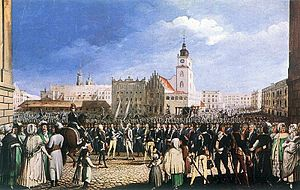 Polish Army oaths - Kościuszko taking an oath at Kraków's Market Square, an 1804 gouache by Michał Stachowicz