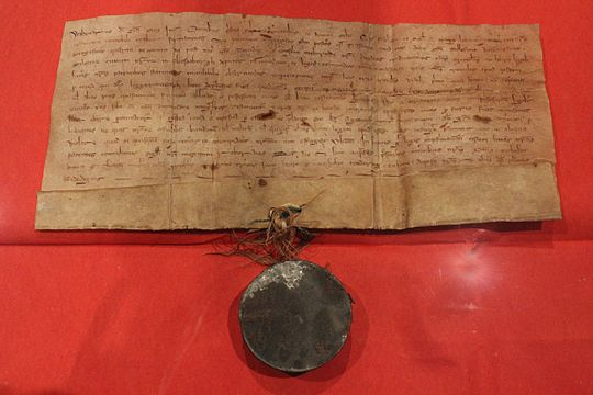 The borough charter of Flensburg (1284) Stadtrechtsurkunde Flensburgs von 1284 (The Town Charter of Flensburg).JPG