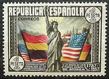 Stamp150aniversaryUSconstitution1937SpanishRepublic