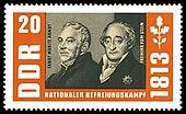 """Arndt und der Freiherr vom Stein in der Briefmarkenserie """"nationaler Befreiungskampf"""" der DDR-Post (1963) (Quelle: Wikimedia)"""