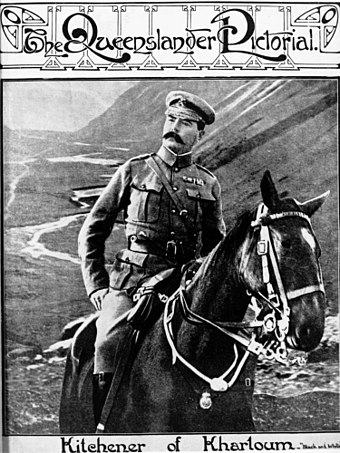 Kitchener succeeded Roberts in November 1900 and launched anti-guerrilla campaigns. 1898 photograph in 1910 magazine. StateLibQld 1 102586 Lord Herbert Kichener on horseback..jpg