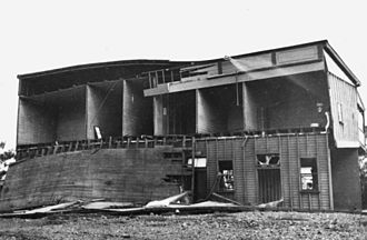 Clermont, Queensland - Flood damaged, two-storey house, 1916
