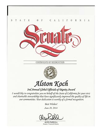 Alston Koch - State of California Senate's Certificate of Recognition to Alston Koch