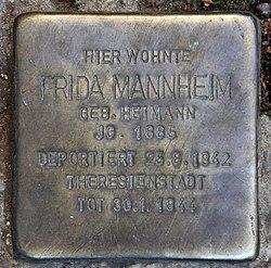 Photo of Frida Mannheim brass plaque