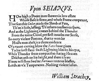 William Strachey - Strachey's sonnet, Upon Sejanus, published in Ben Jonson's Sejanus His Fall (1605)