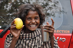 The girl child is happy as a rich person gave ...